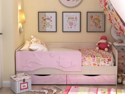 Кровать Алиса розовый металлик