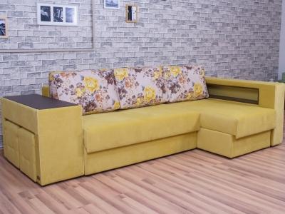 Угловой диван Мальта 7 с оттоманкой Flowers 005-Elva mustard