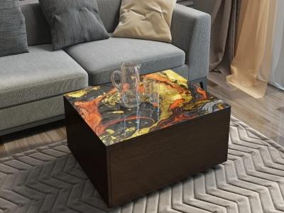Стол трансформер Риал с ящиком Венге с фотопечатью